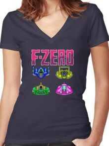 F-ZERO - SUPER NINTENDO Women's Fitted V-Neck T-Shirt