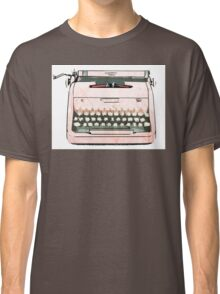 Simple Modern Retro Pop Art Pink Typewriter Print Classic T-Shirt