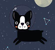 Boston Terrier In Space by KarinBijlsma