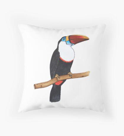Toucan bird sitting on a branch Throw Pillow