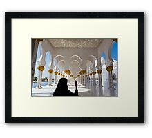 Woman and selfie at Sheikh Zayed Mosque in Abu Dhabi Framed Print