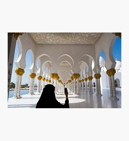 Woman and selfie at Sheikh Zayed Mosque in Abu Dhabi Photographic Print