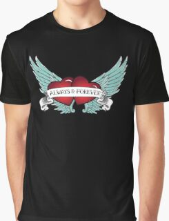 Rockabilly Always & Forever Winged Heart Graphic T-Shirt