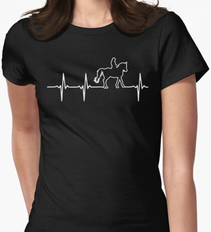 Horseback Riding heartbeat Womens Fitted T-Shirt