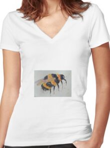 Orange and yellow bumble bee Women's Fitted V-Neck T-Shirt
