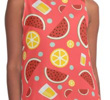 Fresh Fruit and Beer Summer Pattern Contrast Tank