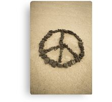 Peace shape made with stones Canvas Print