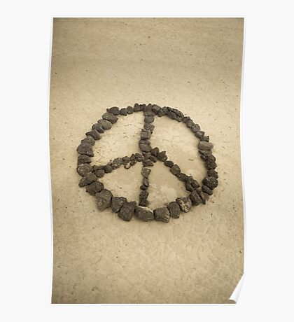 Peace shape made with stones Poster