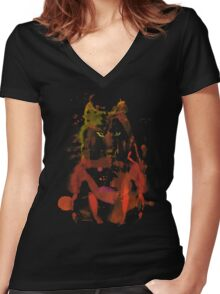 watercolor foxy 2 Women's Fitted V-Neck T-Shirt