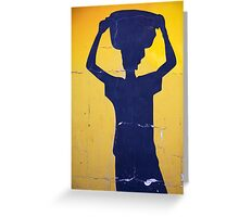 Blue shape of an African woman Greeting Card