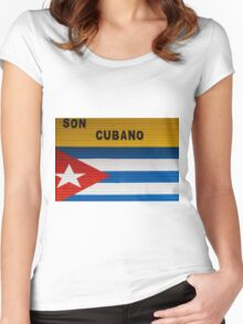 Concept of cuban flag and sound from Cuba Women's Fitted Scoop T-Shirt