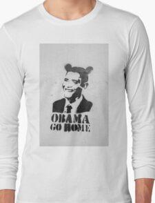 Graffiti Disney Obama go home on white wall Long Sleeve T-Shirt