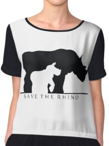 Save The Rhino (White Background) Chiffon Top