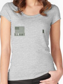 First Lieutenant Infantry US Army Rank Desert by Mision Militar ™ Women's Fitted Scoop T-Shirt