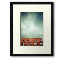 Capital letters FREE with cloudy sky Framed Print