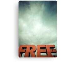 Capital letters FREE with cloudy sky Canvas Print