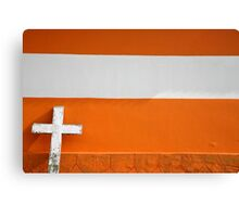 White Cross on Urban orange Brick Church Canvas Print
