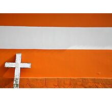 White Cross on Urban orange Brick Church Photographic Print