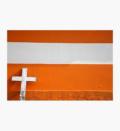 White Cross on Urban orange Brick Church Photographic Print
