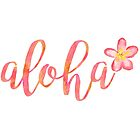 Aloha Hawaii Plumeria Watercolor Floral by nordicwhimsy