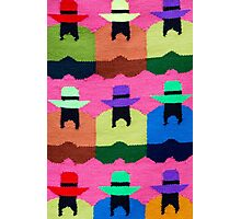 Indian Native Fashion and colored rug background, Peru Photographic Print