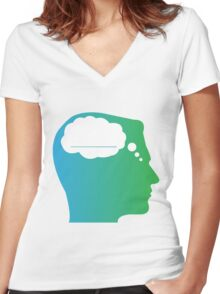 What About Blank Logo w/o Words Women's Fitted V-Neck T-Shirt