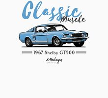 Classic Muscle. 1967 Mustang Shelby GT500 (blue) Unisex T-Shirt