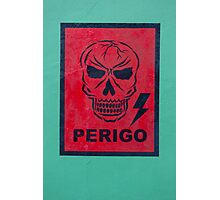 Red graffiti of skull with danger sign. Manaus, Brazil Photographic Print
