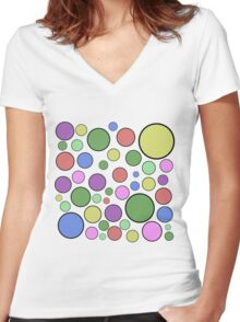 Colorful Dots Women's Fitted V-Neck T-Shirt
