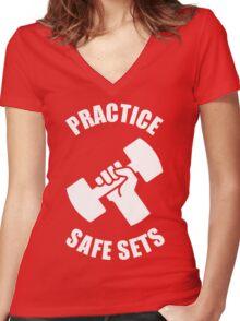Practice Safe Sets Women's Fitted V-Neck T-Shirt