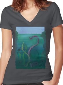 The Dark Below Women's Fitted V-Neck T-Shirt
