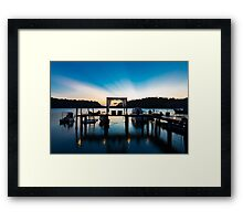 Thai terrace lounges with pergola at sunset on wooden pier Framed Print