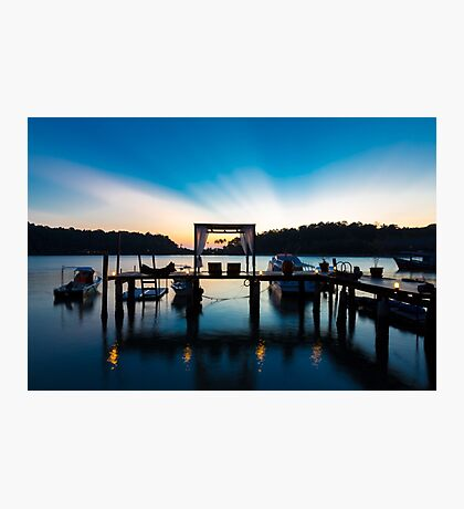 Thai terrace lounges with pergola at sunset on wooden pier Photographic Print