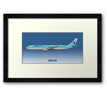 Illustration of Korean Air Airbus A330-300 - Blue Version Framed Print