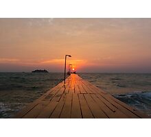 Pier and sunrise in Koh Rong Island Photographic Print