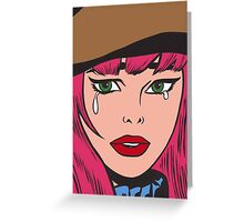 Pink Hair Crying Comic Hipster Girl Greeting Card