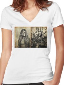 Clarke and Lexa (Clexa) Women's Fitted V-Neck T-Shirt