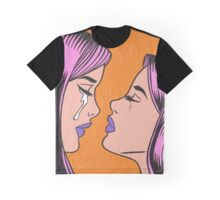 Pink Hair Crying Comic Girl Twins Graphic T-Shirt