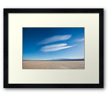 Land with dry and cracked ground. Pampa of El Leoncito Framed Print