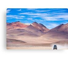 Off-road vehicle driving in the Atacama desert, Bolivia Canvas Print