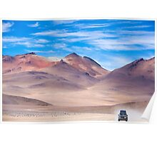 Off-road vehicle driving in the Atacama desert, Bolivia Poster