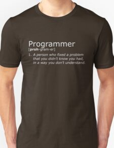 Programmer definition white Unisex T-Shirt