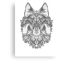 Spirit Wolf : Black and White Coloring DIY    Canvas Print