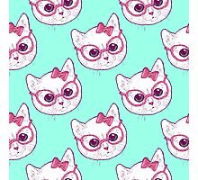 Kawaii kitty with glasses Photographic Print