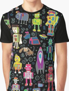 Robots in Space - black Graphic T-Shirt