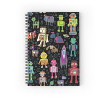 Robots in Space - black Spiral Notebook
