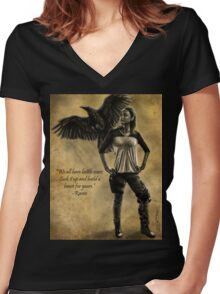 Raven Stay Strong 2 Women's Fitted V-Neck T-Shirt