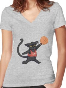 B-Ball Cat! Women's Fitted V-Neck T-Shirt