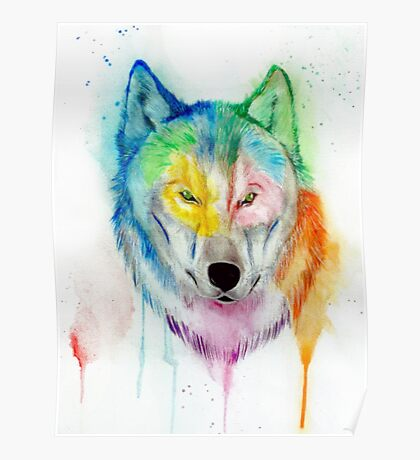 Wolf watercolor drip painting Poster