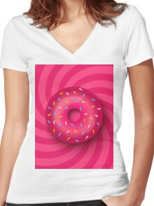 Pink donut  Women's Fitted V-Neck T-Shirt